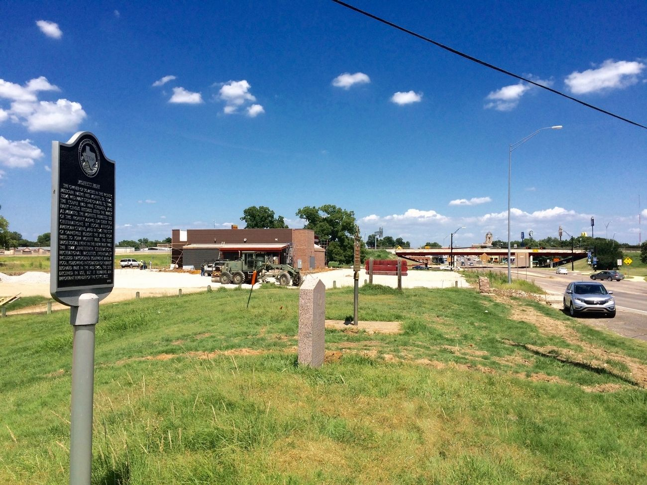 View of marker looking towards Interstate Highway 35. image. Click for full size.