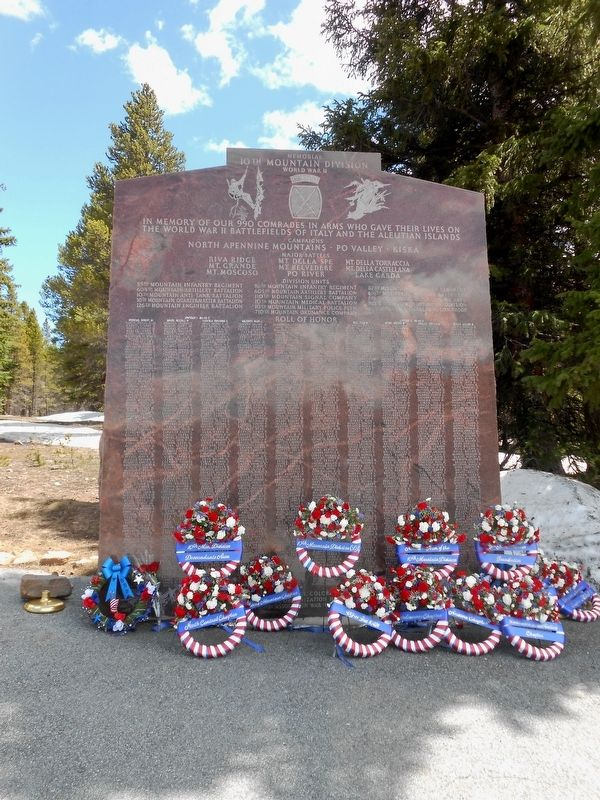 Memorial Day 2014, 10th Mountain Division Memorial Marker image. Click for full size.