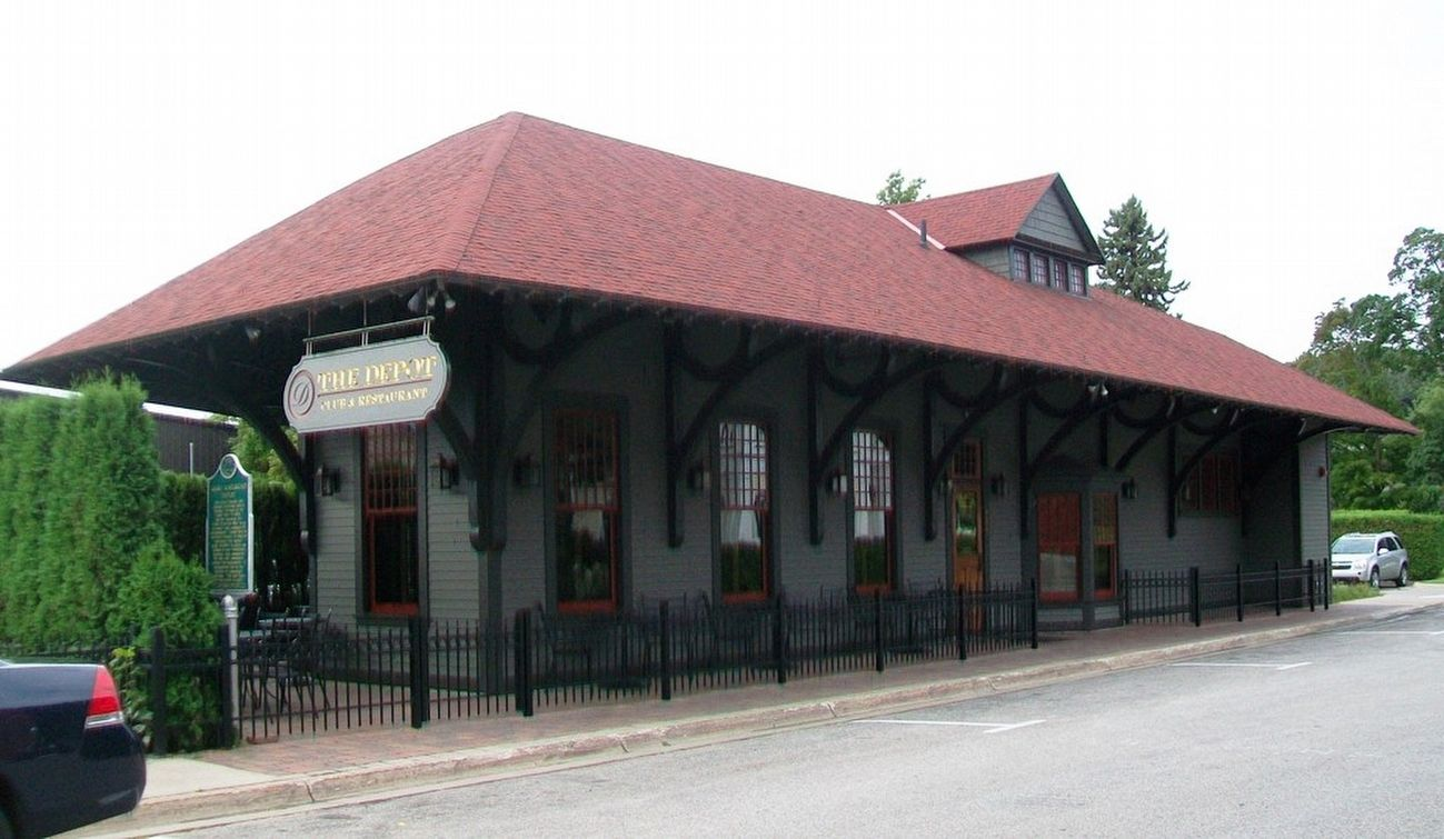 GR&I Railroad Depot and Marker image. Click for full size.