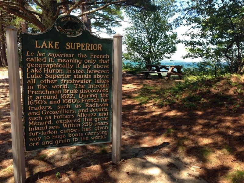 Lake Superior Marker with Lake Superior in background image, Click for more information