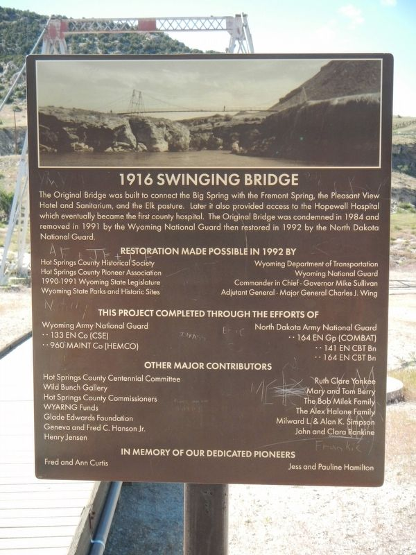 1916 Swinging Bridge Marker image. Click for full size.