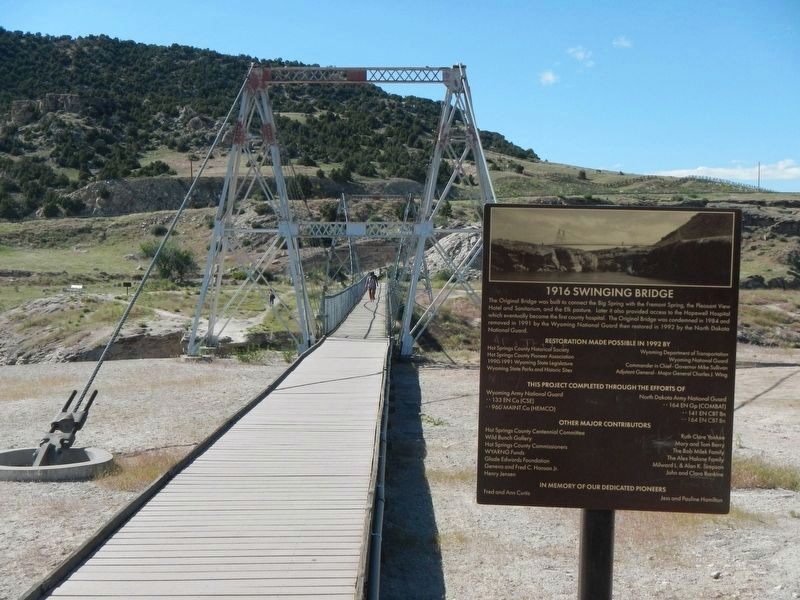 1916 Swinging Bridge and Marker image. Click for full size.