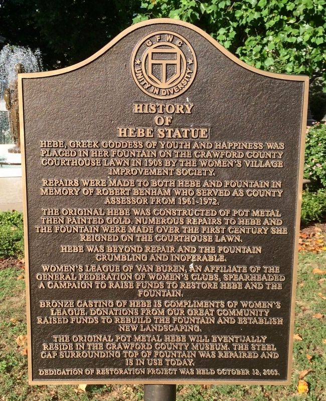 History of the Hebe Statue Marker image. Click for full size.