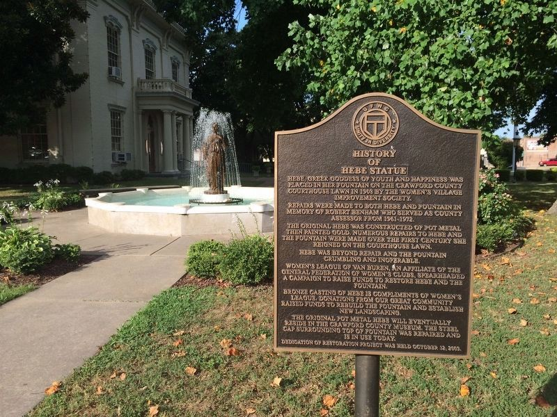Hebe Statue, fountain & marker at Crawford County Courthouse. image. Click for full size.