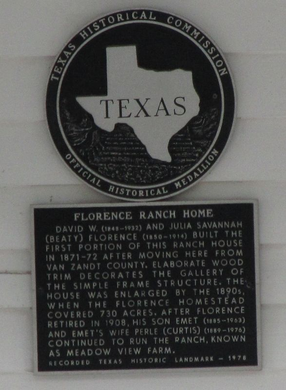 Florence Ranch Home Texas Historical Marker image. Click for full size.