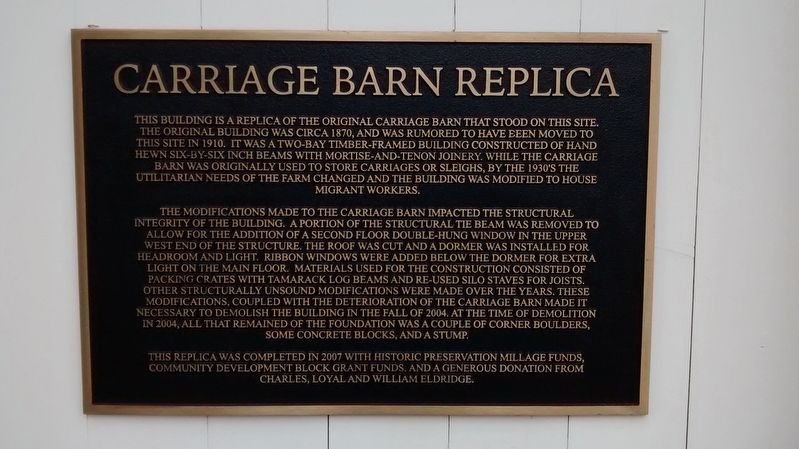 Carriage Barn Replica Marker image. Click for full size.