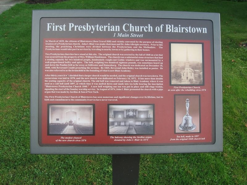 First Presbyterian Church of Blairstown Marker image. Click for full size.