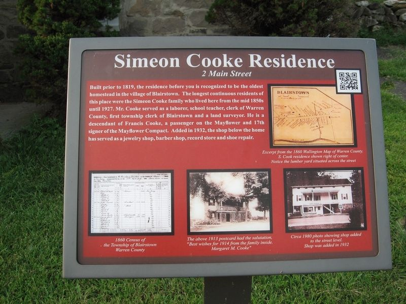 Simeon Cook Residence Marker image. Click for full size.