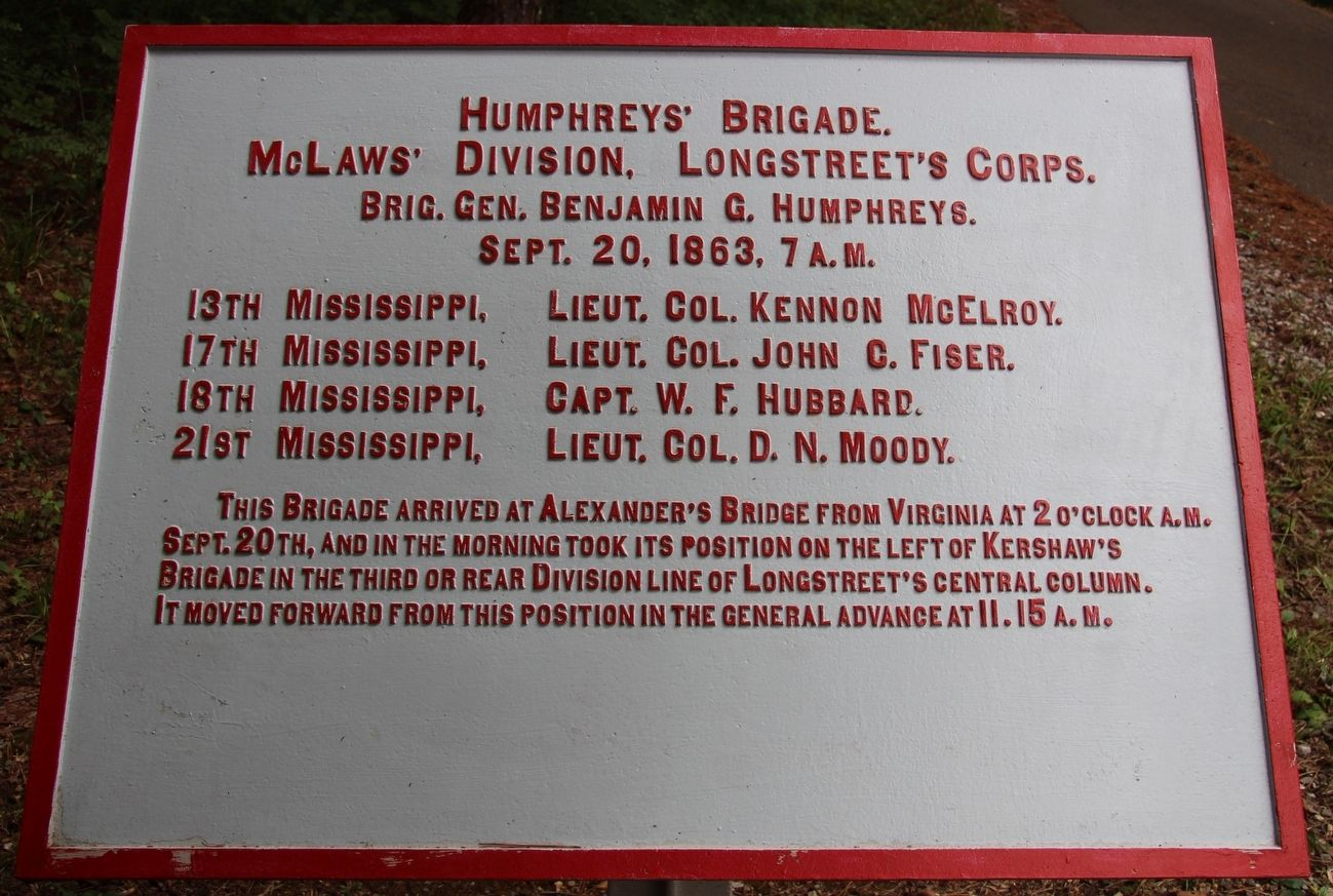 Humphrey's Brigade Marker image. Click for full size.