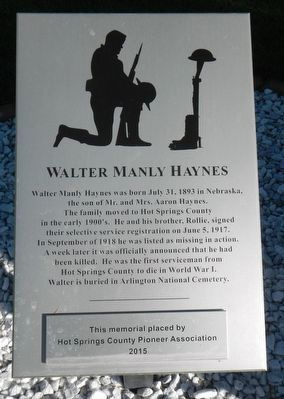 Walter Manly Haynes Marker image. Click for full size.