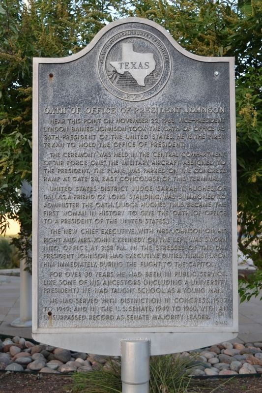 Oath of Office of President Johnson Marker image. Click for full size.