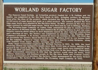 Worland Sugar Factory Marker image. Click for full size.