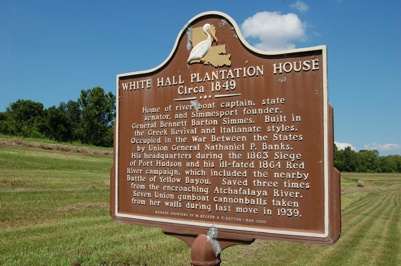 White Hall Plantation House Marker image. Click for full size.