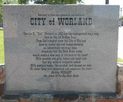 City of Worland Marker image. Click for full size.