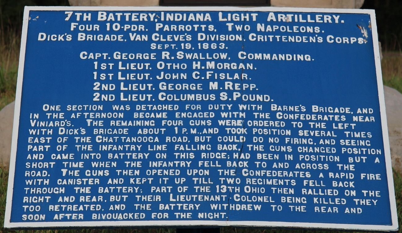 7th Indiana Battery Marker image. Click for full size.