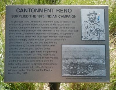 Cantonment Reno Supplied the 1876 Indian Campaign. Marker image. Click for full size.