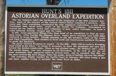 Hunt's 1811 Astorian Overland Expedition Marker image. Click for full size.