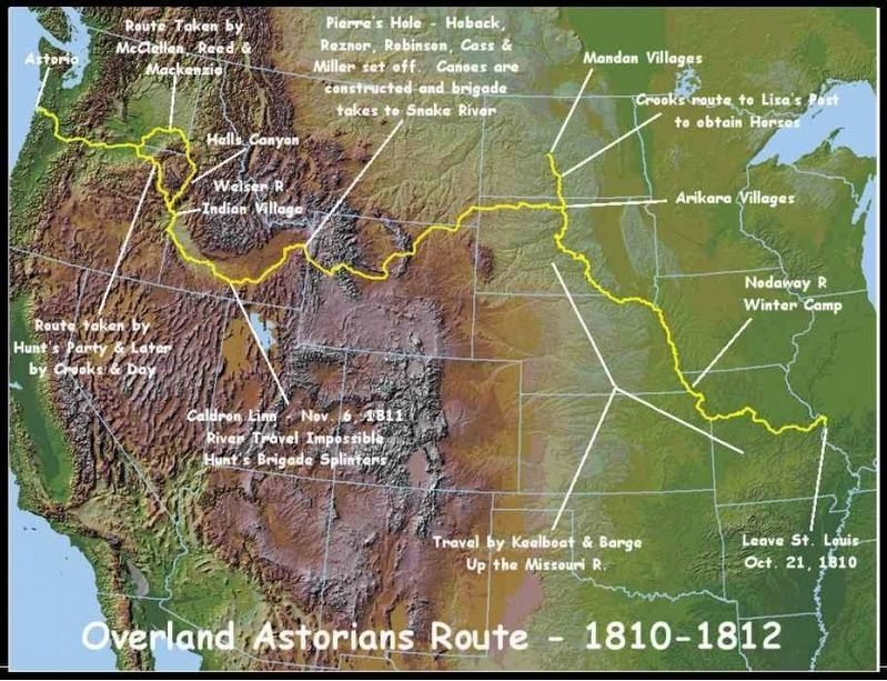 Map Showing Route of Overland Astorians 1810-1813 image. Click for full size.