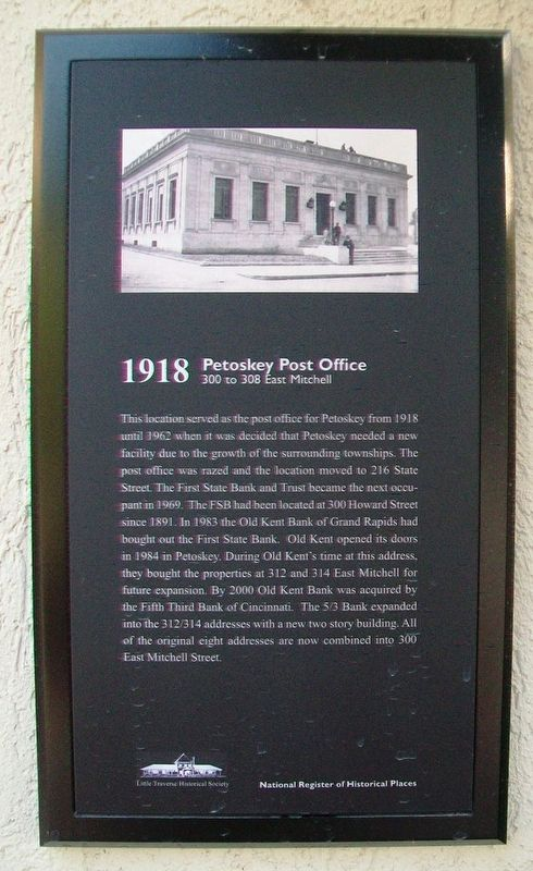 Petoskey Post Office Marker image. Click for full size.