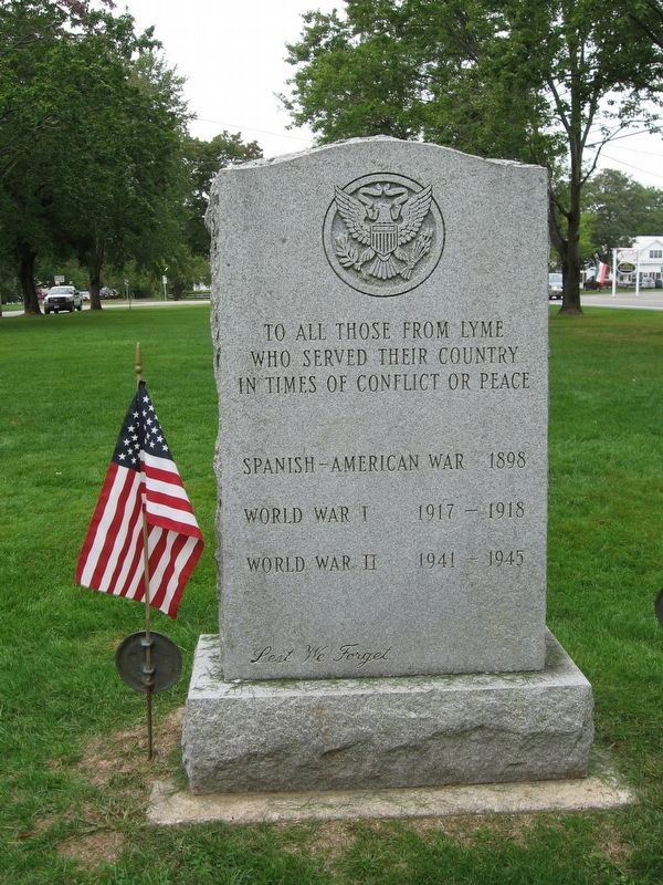 Lyme Veterans Monument image. Click for full size.