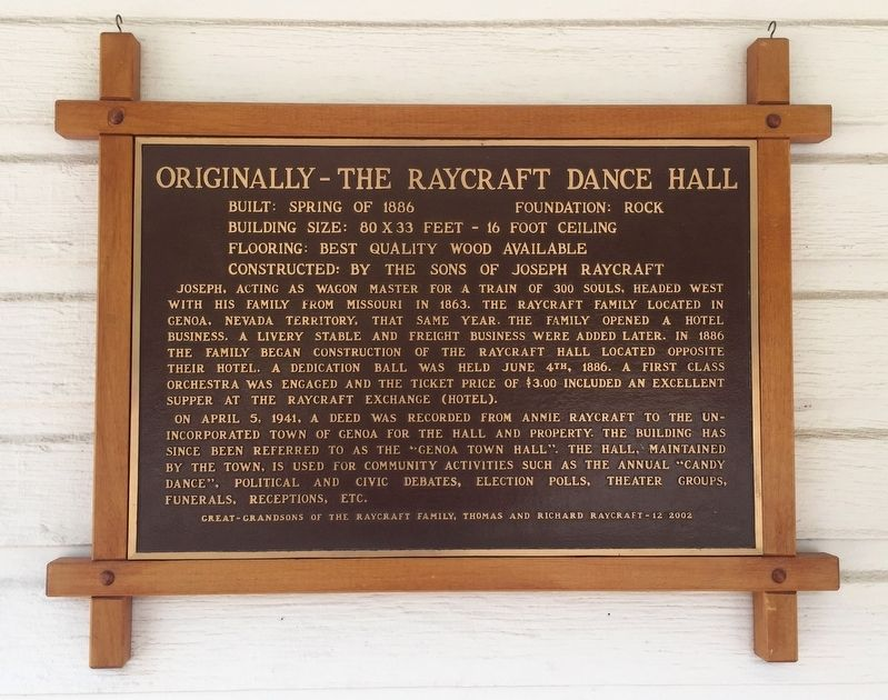 Originally – The Raycraft Dance Hall Marker image. Click for full size.