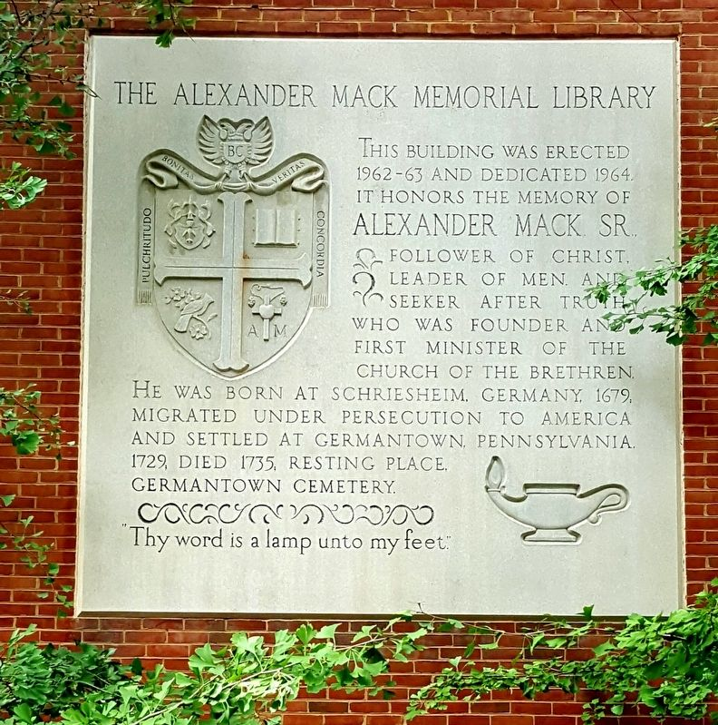 The Alexander Mack Memorial Library Marker image. Click for full size.