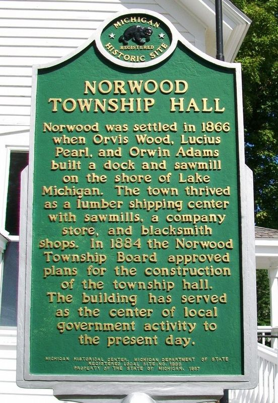 Norwood Township Hall Marker image. Click for full size.