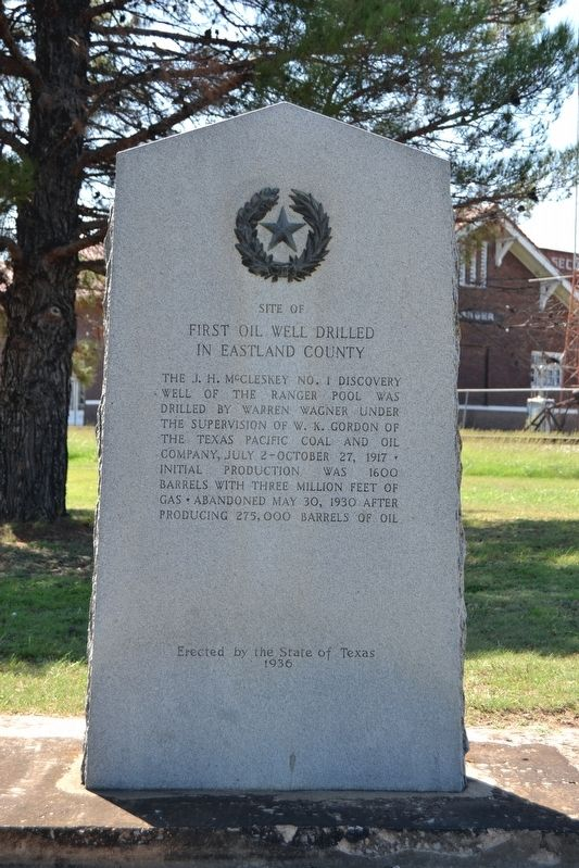 Site of First Oil Well Drilled in Eastland County Marker image. Click for full size.