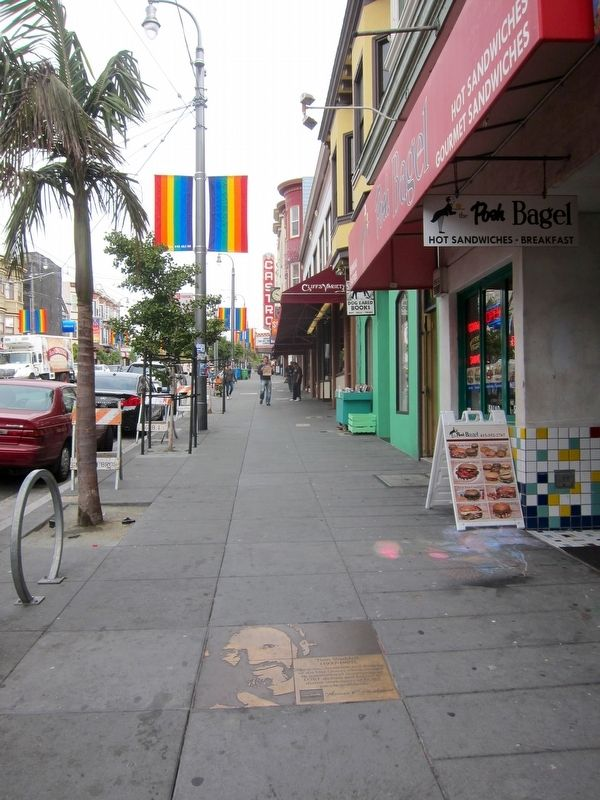 Tom Waddell Marker - Wide View, Looking North up Castro image. Click for full size.