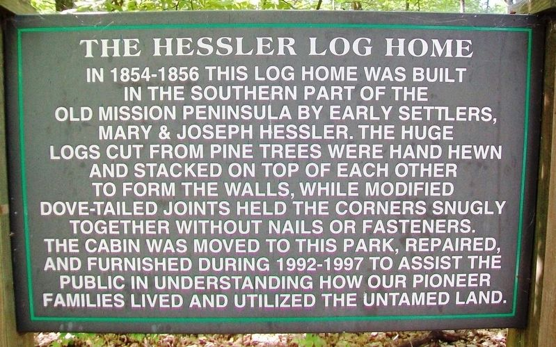 The Hessler Log Home Marker image. Click for full size.