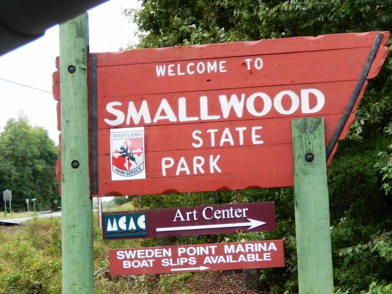 Sign at the entrance to Smallwood State Park image. Click for full size.