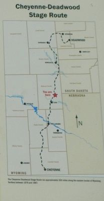 The Cheyenne-Deadwood Stage Route, map detail from Along the Cheyenne to Deadwood Stage Marker image. Click for full size.