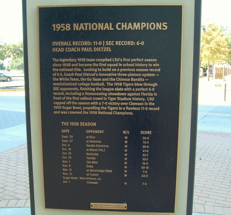 1958 National Champions Marker image. Click for full size.