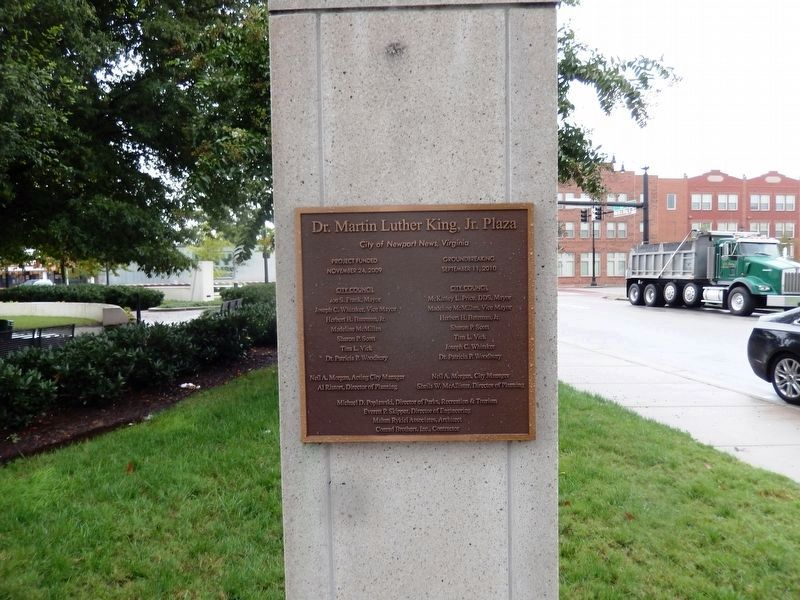 Plaque on entrance gate-Dr. Martin Luther King, Jr. Plaza image. Click for full size.