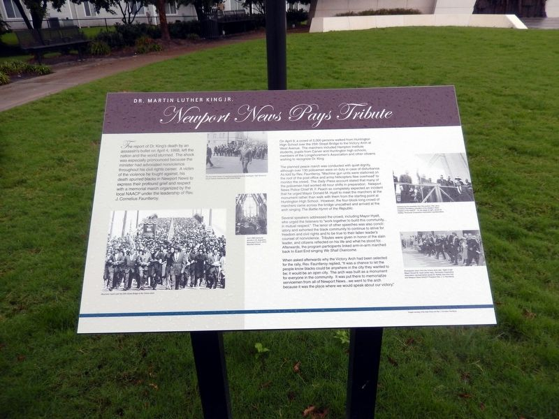 Newport News Pays Tribute Marker image. Click for full size.