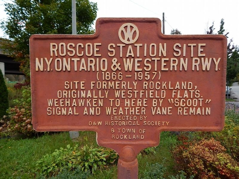 Roscoe Station Site N.Y Ontario & Western Rwy Marker image. Click for full size.