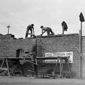 CCC boys work on an adobe building at Mission La Purisima Concepcion de Maria Santisima near Lompoc, image. Click for full size.