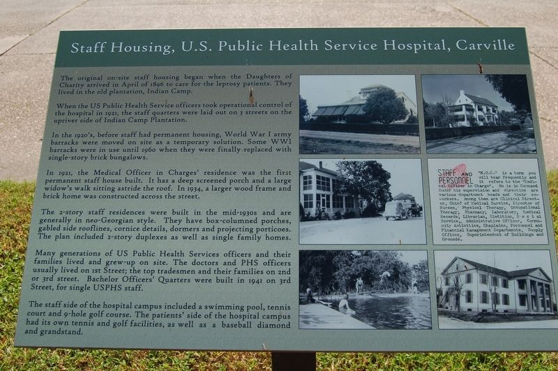 Staff Housing, U.S. Public Health Service Hospital, Carville Marker image. Click for full size.