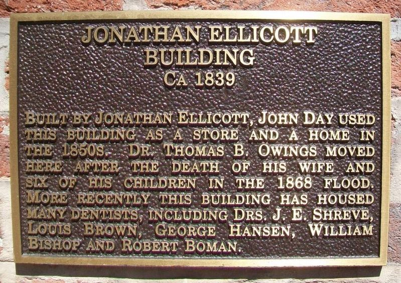 Jonathan Ellicott Building Marker image. Click for full size.