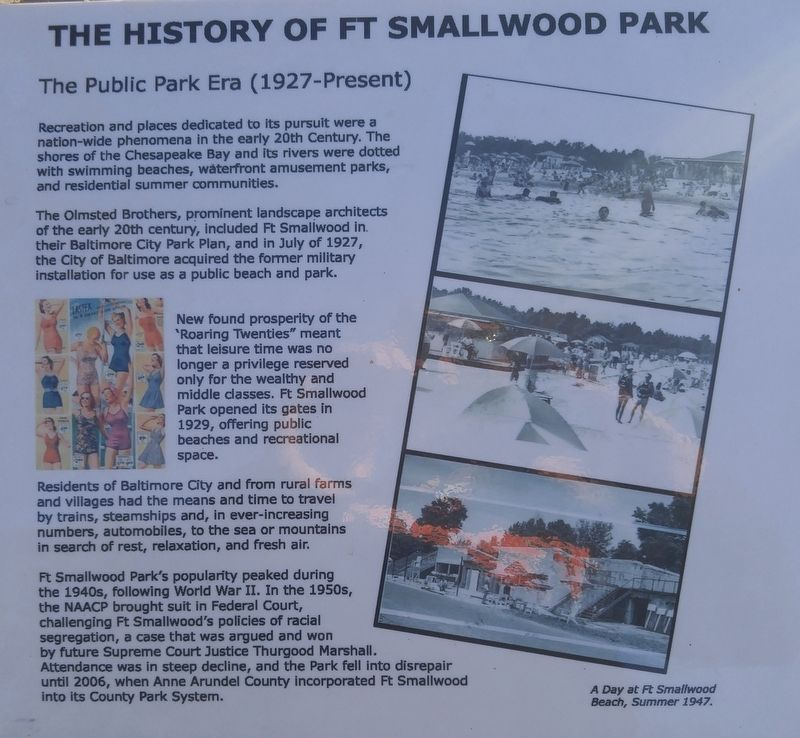 The History of Ft Smallwood Park Marker image. Click for full size.