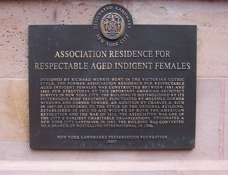 Association Residence for Respectable Aged Indigent Females Marker image. Click for full size.