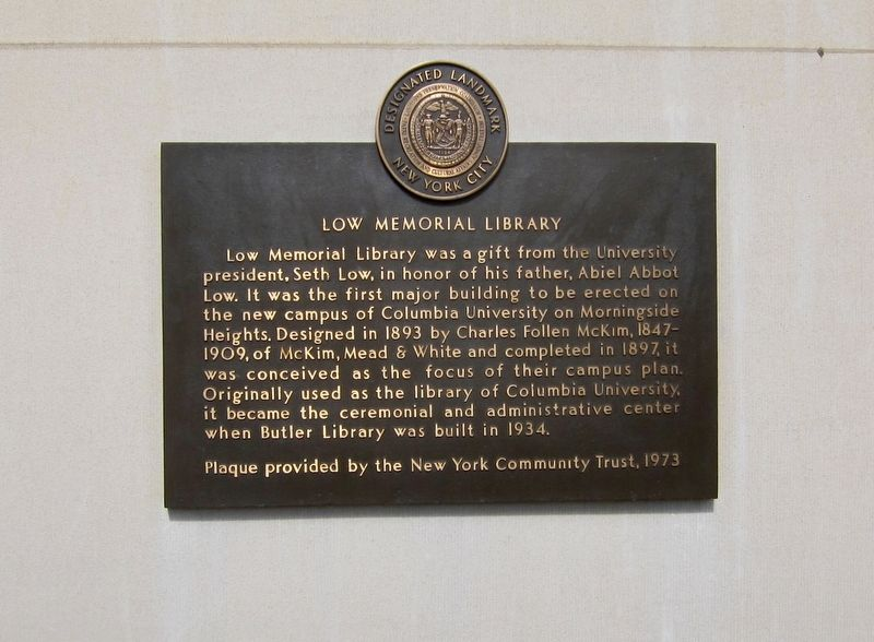 Low Memorial Library Marker image. Click for full size.