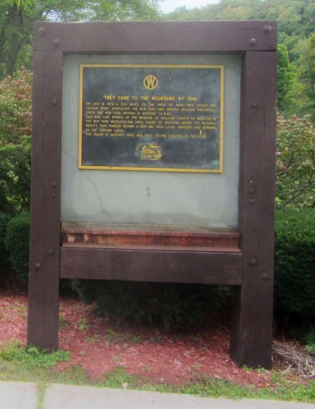 """They Came to the Mountains by Rail"" Marker with section of rail. image. Click for full size."