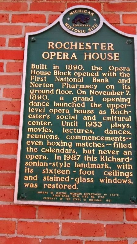 Rochester Opera House Marker image. Click for full size.