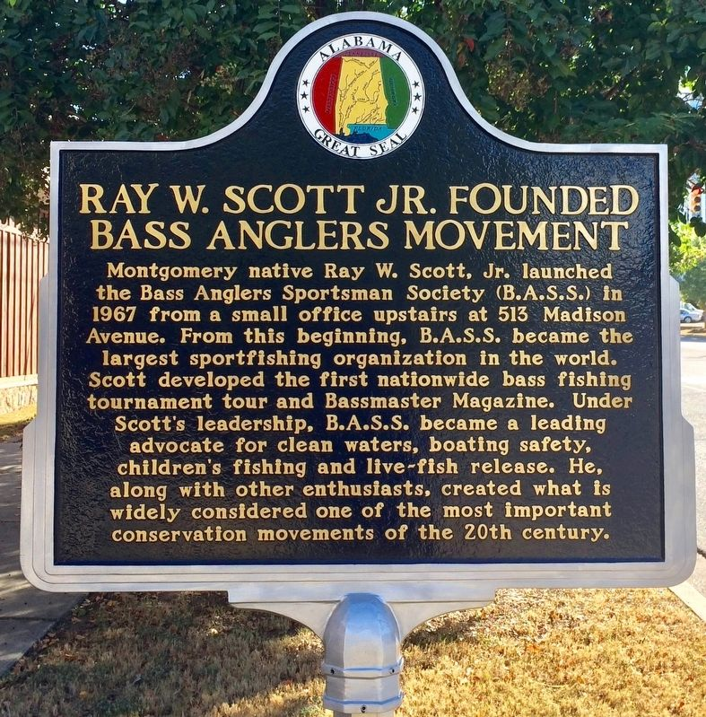 Ray W. Scott Jr. Founded Bass Anglers Movement Marker image. Click for full size.