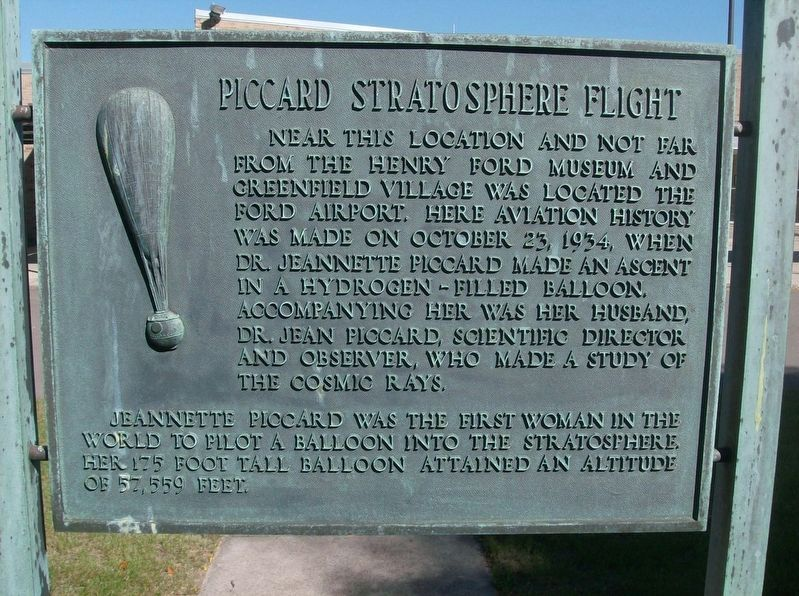 Piccard Stratosphere Flight / William B. Stout School Marker image. Click for full size.