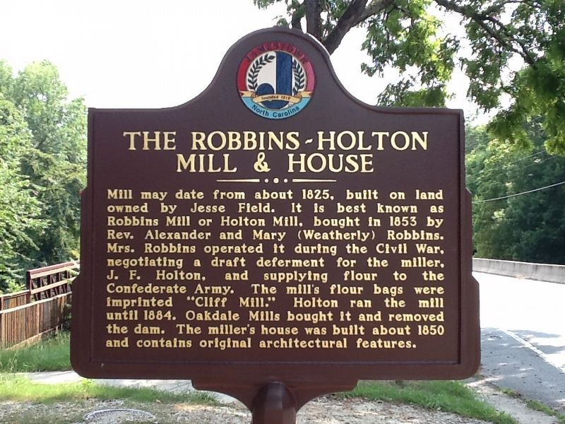 The Robbins-Holton Mill & House Marker image. Click for full size.