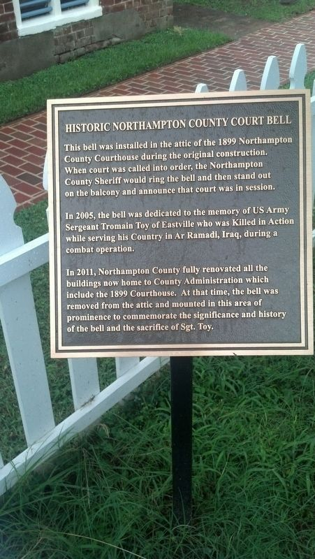 Historic Northampton County Court Bell Marker image. Click for full size.