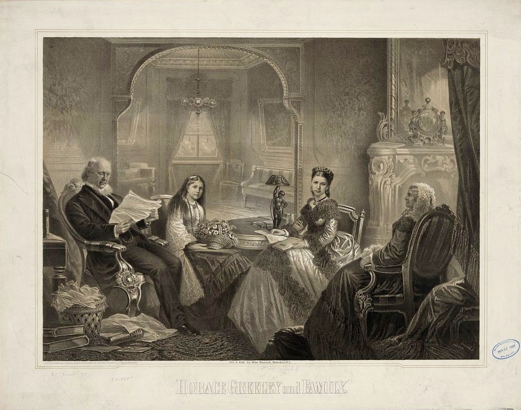 <i>Horace Greeley and Family</i> image. Click for full size.