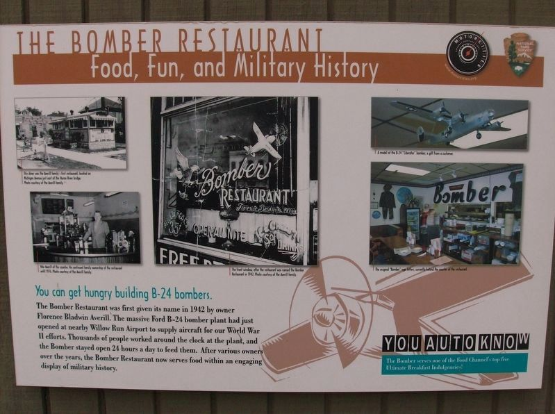 The Bomber Restaurant: Food, Fun, and Military History Marker image. Click for full size.
